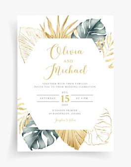 Modèle de carte de mariage or tropical