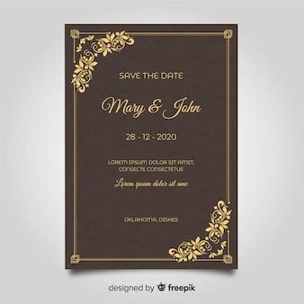Modèle de carte de mariage ornemental