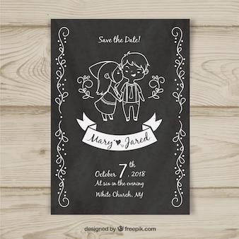 Modèle de carte de mariage avec des personnages dessinés à la main