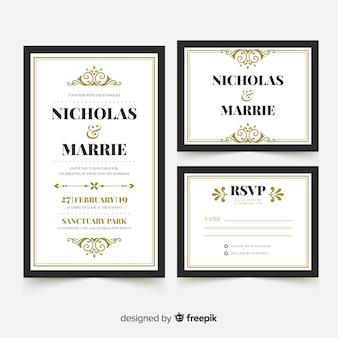 Modèle de carte de mariage plat