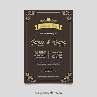 Modèle de carte de mariage rétro avec des éléments dorés