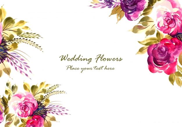 Modèle de carte de mariage romantique de belles fleurs