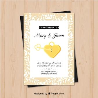 Modèle de carte de mariage avec serrure et clé