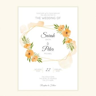 Modèle de carte de mariage simple avec couronne florale aquarelle