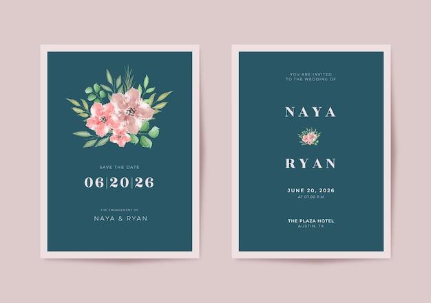 Modèle de carte de mariage simple et élégant