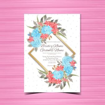 Modèle de carte de mariage vintage avec cadre de fleur