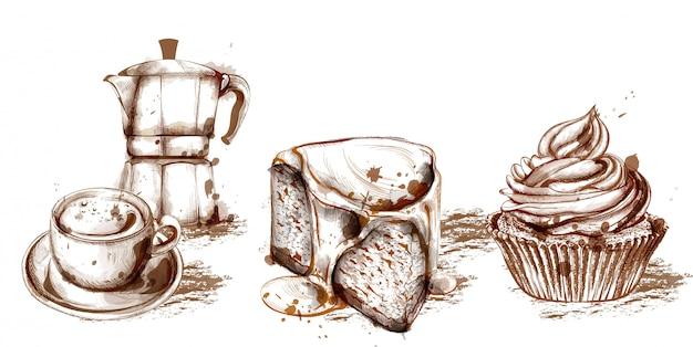 Modèle de carte de menu avec boissons et gâteaux