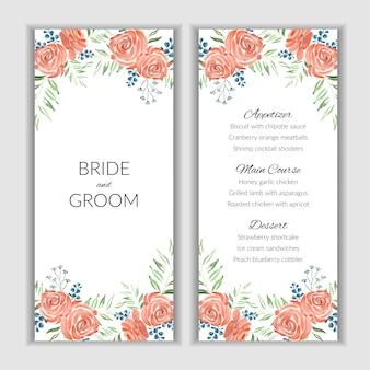 Modèle de carte de menu avec décoration florale rose aquarelle