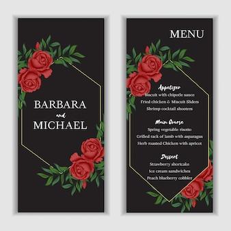 Modèle de carte de menu floral rose rouge