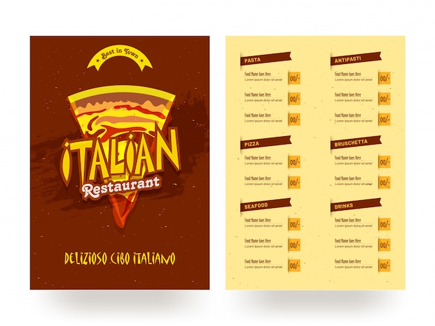 Modèle de carte de menu restaurant italien ou conception de flyer.