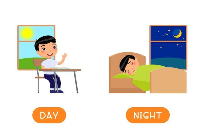 Modèle de carte de mot antonymes jour et nuit.