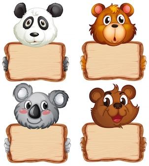 Modèle de carte avec des ours mignons sur fond blanc