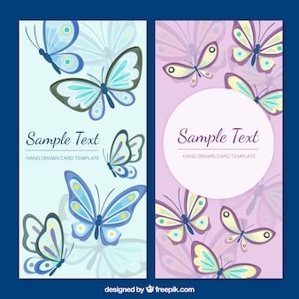Modèle de carte de papillons