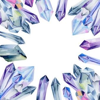 Modèle de carte avec des pierres précieuses aquarelles et des cristaux de couleurs bleues sur fond blanc