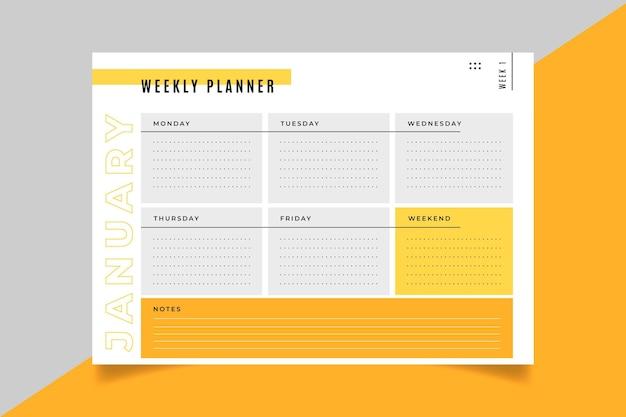Modèle de carte de planificateur hebdomadaire