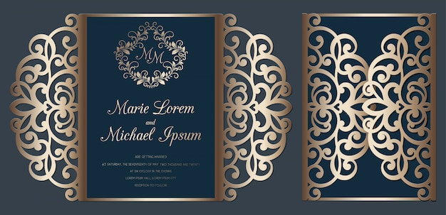 Modèle de carte de pliage de porte d'invitation de mariage découpé au laser. carte de découpe de papier avec motif en dentelle.