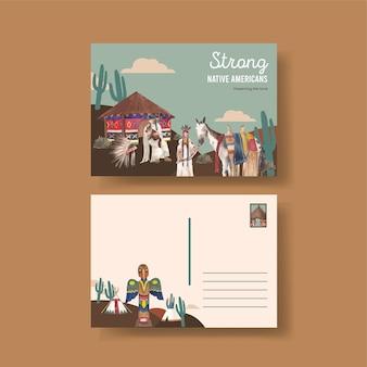 Modèle de carte postale avec amérindien dans un style aquarelle