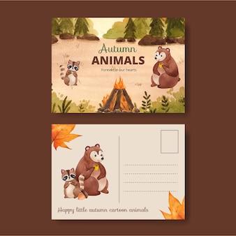 Modèle de carte postale avec animal d'automne dans un style aquarelle