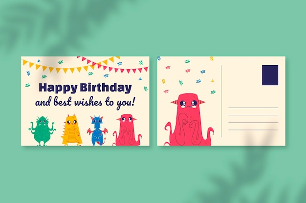 Modèle de carte postale anniversaire monstres dessinés à la main mignon
