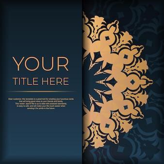 Modèle de carte postale bleu foncé avec ornement indien. éléments vectoriels élégants et classiques prêts pour l'impression et la typographie.