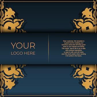 Modèle de carte postale bleu foncé avec ornement de mandala abstrait. les éléments vectoriels élégants et classiques sont parfaits pour la décoration.