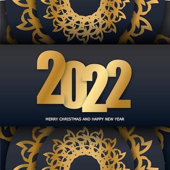 Modèle carte postale bonne année 2022 couleur noire ornement or luxe