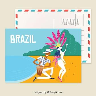 Modèle de carte postale brésil avec style dessiné à la main