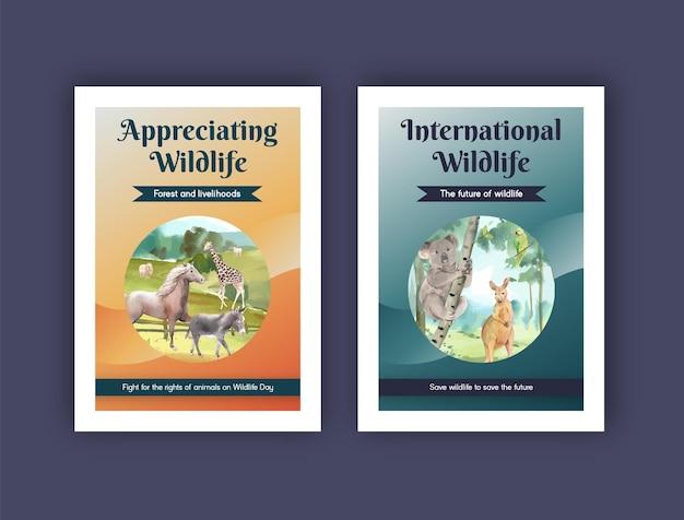 Modèle de carte postale avec le concept de la journée mondiale des animaux dans un style aquarelle