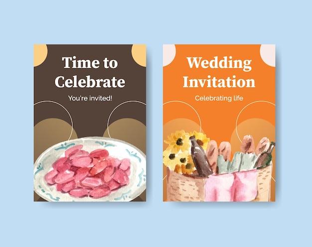 Modèle de carte postale avec conception de concept de voyage pique-nique pour illustration aquarelle de voeux et invitation