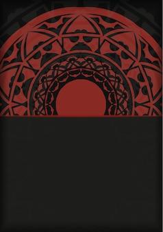 Modèle de carte postale de conception d'impression noir-rouge avec ornement abstrait. préparer une invitation avec une place pour votre texte et vos motifs vintage.
