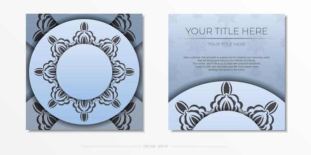 Modèle de carte postale de couleur bleu carré avec ornement noir de luxe. conception d'invitation prête à imprimer avec des motifs vintage.