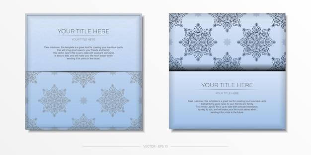 Modèle de carte postale de couleur bleue de vecteur carré avec des motifs noirs luxueux. conception d'invitation prête à imprimer avec des ornements vintage.