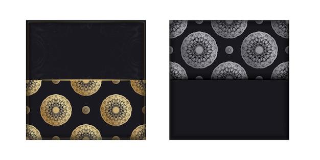 Modèle de carte postale de couleur noire avec un motif de mandala doré pour vos félicitations.