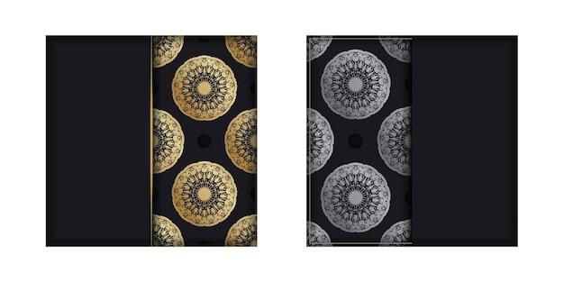 Modèle de carte postale de couleur noire avec motif mandala doré pour votre conception.