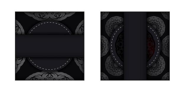 Modèle de carte postale de couleur noire avec ornement mandala en or pour votre conception.