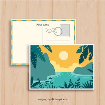 Modèle de carte postale d'été dessinés à la main avec des roches