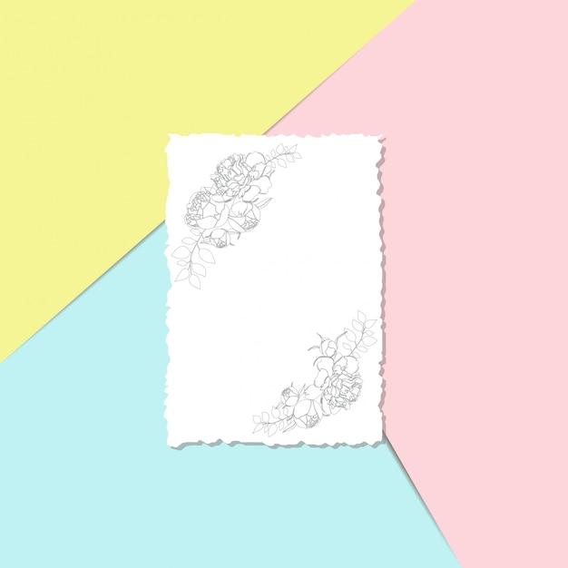 Modèle de carte postale avec des fleurs