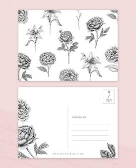 Modèle de carte postale d'illustration florale vintage