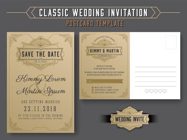 Modèle de carte postale de invitation de mariage classique