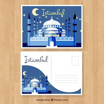 Modèle de carte postale istambul avec un design plat