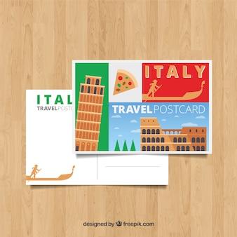 Modèle de carte postale italie avec un design plat