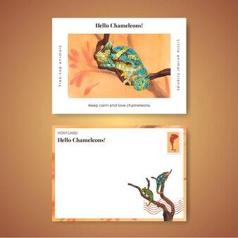 Modèle de carte postale avec lézard caméléon dans un style aquarelle