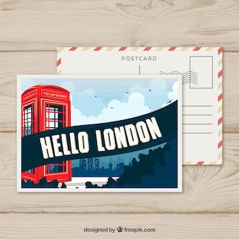 Modèle de carte postale de londres avec un design plat