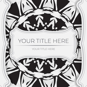 Modèle de carte postale de luxe couleurs blanches avec des motifs indiens. conception d'invitation prête à imprimer avec ornement de mandala.