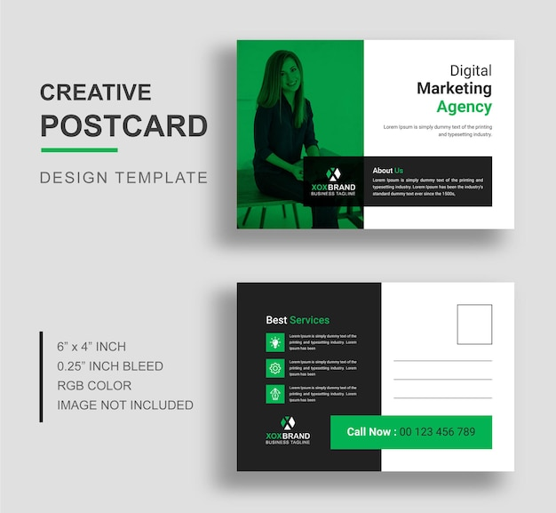 Modèle de carte postale minimaliste