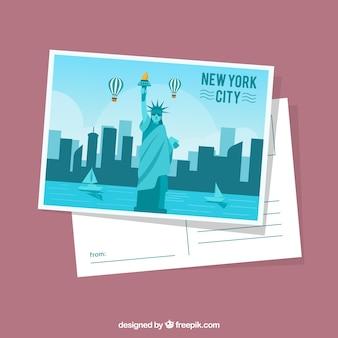 Modèle de carte postale de new york avec un design plat