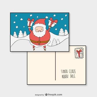 Modèle carte postale avec le père noël