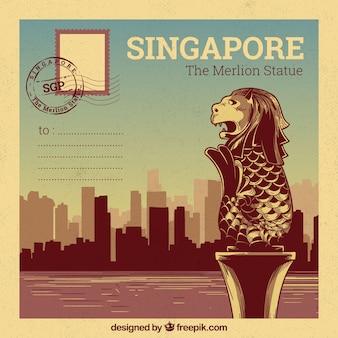 Modèle de carte postale de singapour avec style dessiné à la main