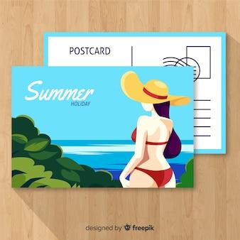Modèle de carte postale de vacances été dessiné main