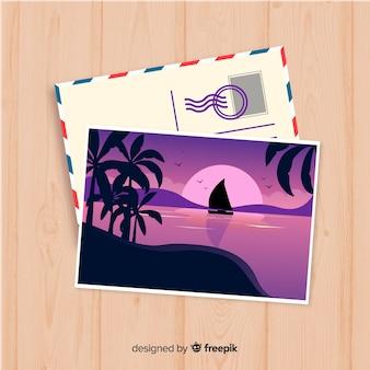 Modèle de carte postale de vacances d'été plat